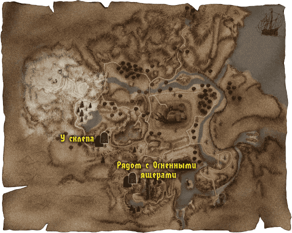 Карта с расположением старых каменных табличек в Долине рудников