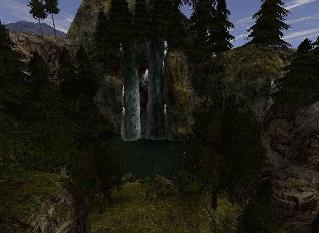 Водопады у башни Ксардаса - игра Готика 2