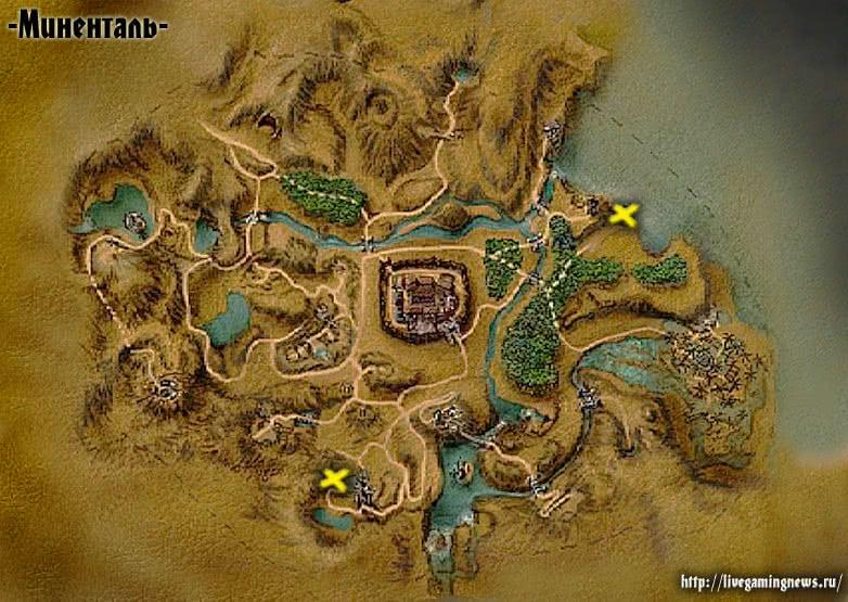 Карта месторасположения Огненных ящериц в Готике 1
