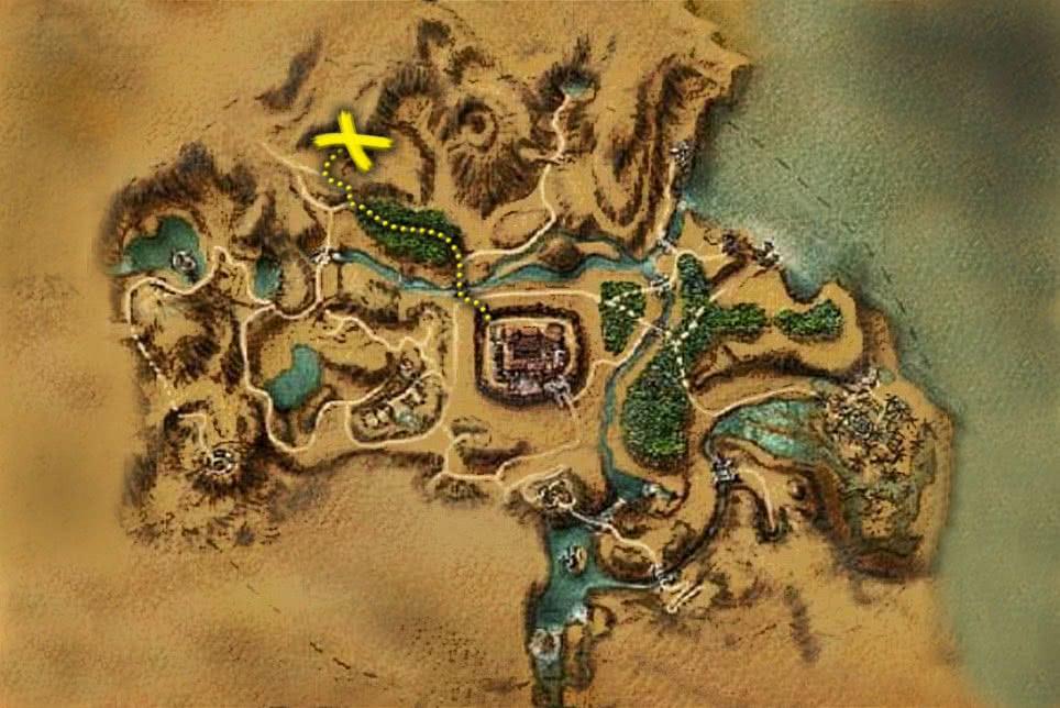 Готика 1 - карта пути к Старой шахте