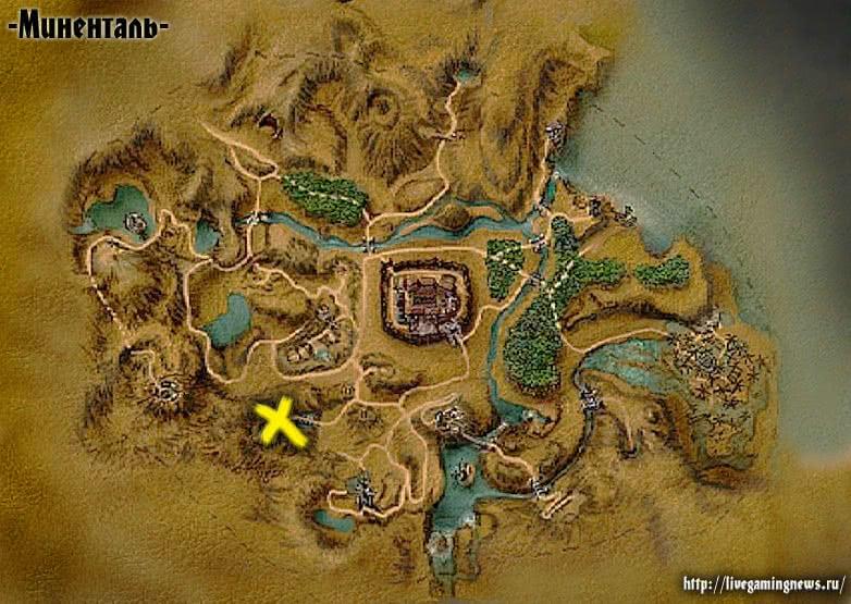 Готика 1 Деревня орков у храма Спящего на карте