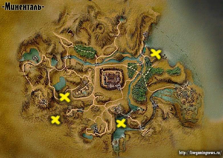 Местонахождение Скелетов в Готике 1 на карте
