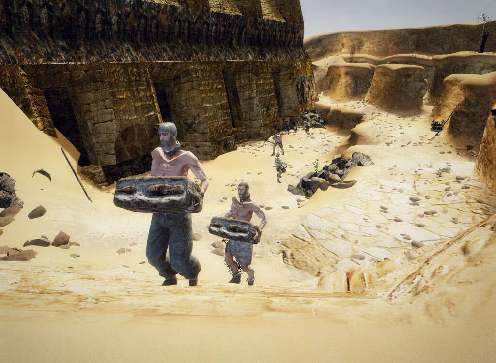 Таскающие камни рабы - игра Готика 3