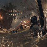 Shadow of the Tomb Raider - Лара Крофт держится за столб