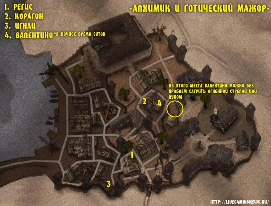 Карта с NPC которые задействованы в задании Эксперимент