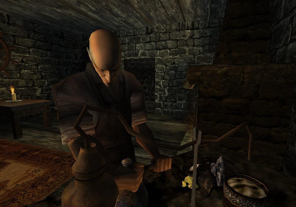 Константино работает за алхимическим столом