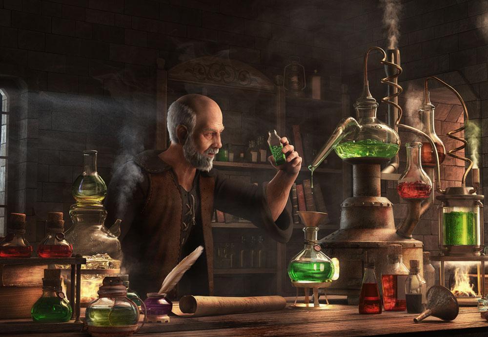 Алхимик за приготовлением зелья