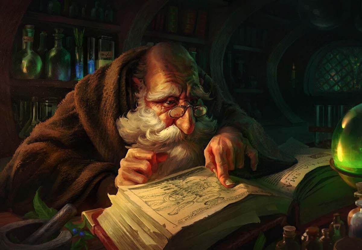 Ученый изучает книгу