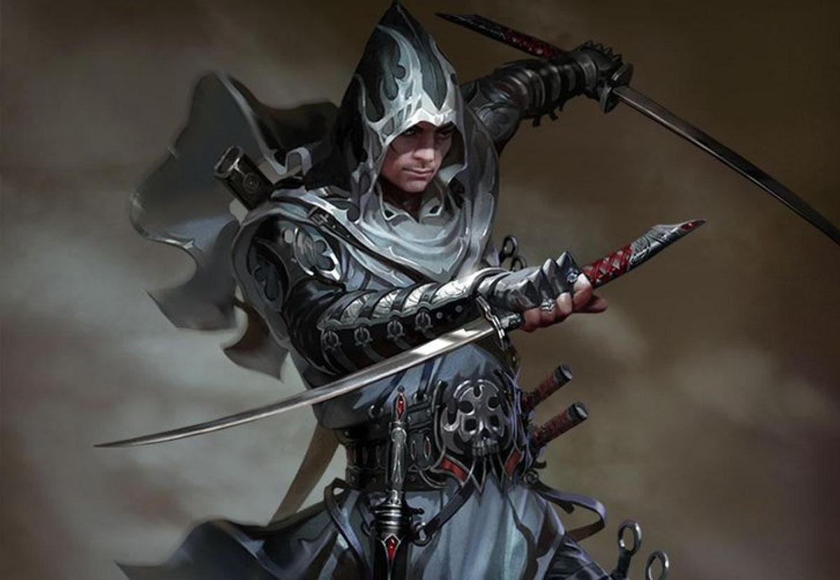 Воин с двумя мечами и кинжалами