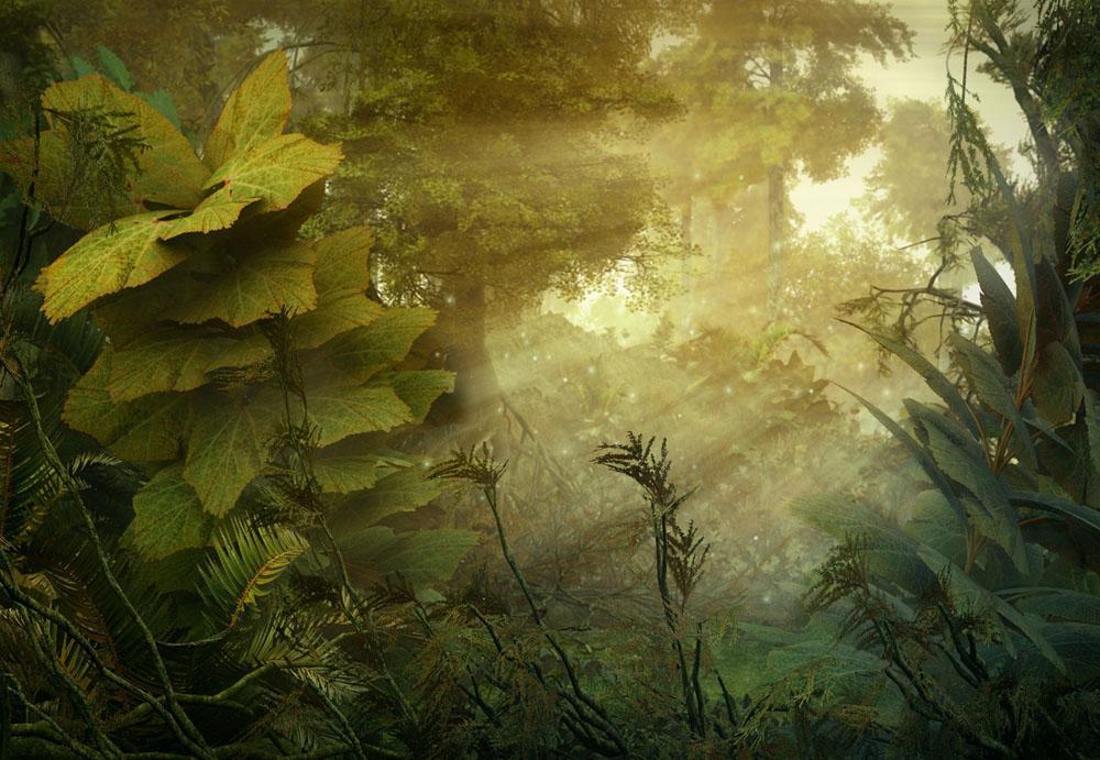 Зеленые травы купаются в лучах солнца