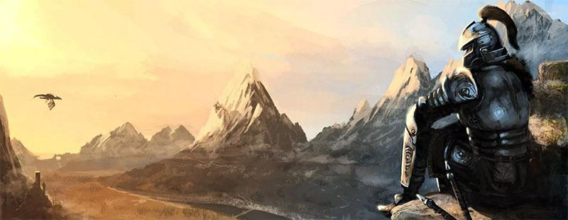 Воин сидящий на камне - игра Скайрим
