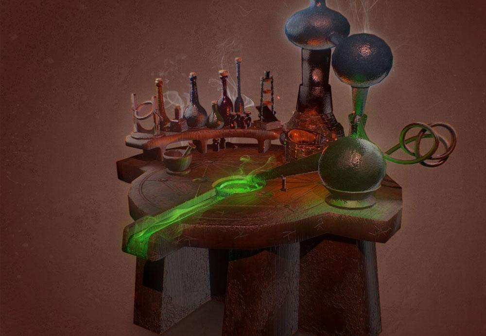 Алхимический стол из игры Скайрим