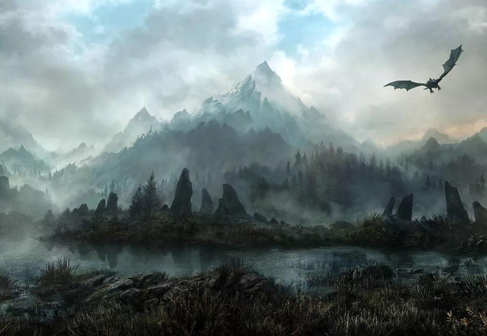 Дракон парит над просторами Скайрима