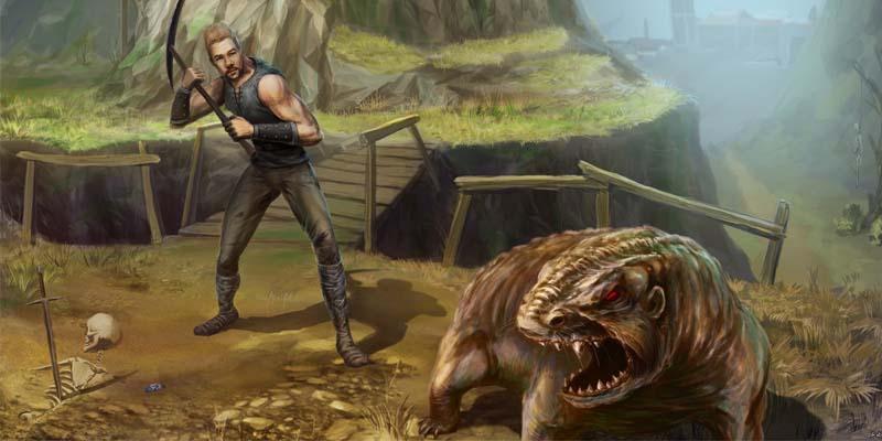 Безымянный охотится на Кротокрыса - все монстры Готики 1